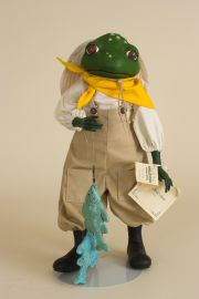 Franklin Fisherman Frog - limited edition resin collectible doll  by doll artist Faith Wick.