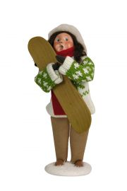 Girl with Snowboard - collectible limited edition mixed media caroler figurine by Byers' Choice, Ltd.