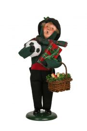 Boy Bearing Gifts - collectible limited edition mixed media caroler figurine by Byers' Choice, Ltd.