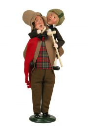 Bob Cratchit and Tiny Tim - collectible limited edition mixed media caroler figurine by Byers' Choice, Ltd.