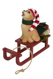 Dog with Sled - collectible limited edition mixed media caroler figurine by Byers' Choice, Ltd.