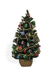 Decorated tree with lights - collectible limited edition doll accessory by Byers' Choice, Ltd.