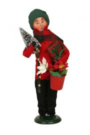 Gifting Family Man - collectible limited edition mixed media caroler figurine by Byers' Choice, Ltd.