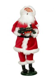 Red Velvet Santa with Train - collectible limited edition mixed media caroler figurine by Byers' Choice, Ltd.