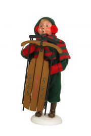 Snow Day Kid with Sled - collectible limited edition mixed media caroler figurine by Byers' Choice, Ltd.
