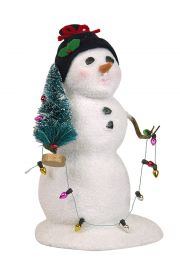 Snowman with Lights - collectible limited edition mixed media caroler figurine by Byers' Choice, Ltd.