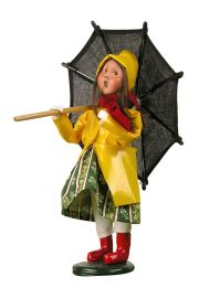 Girl with Umbrella - collectible limited edition mixed media caroler figurine by Byers' Choice, Ltd.