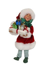 Wraps with Packages Kindle - collectible limited edition mixed media caroler figurine by Byers' Choice, Ltd.