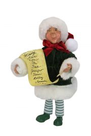 Checker with List Kindle - collectible limited edition mixed media caroler figurine by Byers' Choice, Ltd.