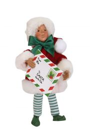 Stamp with Letter Kindle - collectible limited edition mixed media caroler figurine by Byers' Choice, Ltd.