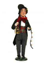 Man with Instrument - collectible limited edition mixed media caroler figurine by Byers' Choice, Ltd.