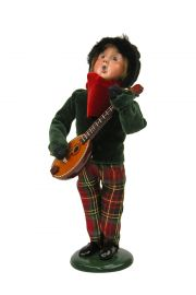 Boy with Instrument - collectible limited edition mixed media caroler figurine by Byers' Choice, Ltd.