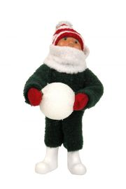 Toddler with Snowball - collectible limited edition mixed media caroler figurine by Byers' Choice, Ltd.