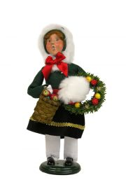 Girl with Wreaths - collectible limited edition mixed media caroler figurine by Byers' Choice, Ltd.