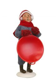 Snow Day Kid with Saucer - collectible limited edition mixed media caroler figurine by Byers' Choice, Ltd.