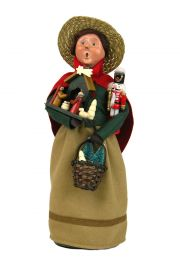 Christmas Market Shopper - collectible limited edition mixed media caroler figurine by Byers' Choice, Ltd.