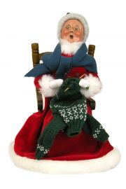 Red Velvet Mrs. Claus Knitting - collectible limited edition mixed media caroler figurine by Byers' Choice, Ltd.