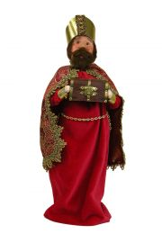 Red Wise Man with Myrrh - collectible limited edition mixed media caroler figurine by Byers' Choice, Ltd.