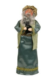 Blue Wise Man with Frankincense - collectible limited edition mixed media caroler figurine by Byers' Choice, Ltd.