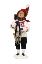 Boy Holding Skates - collectible limited edition mixed media caroler figurine by Byers' Choice, Ltd.