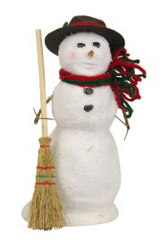 Snowman with Broom - collectible limited edition mixed media caroler figurine by Byers' Choice, Ltd.