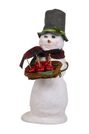 Snowman with Candy Apple - collectible limited edition mixed media caroler figurine by Byers' Choice, Ltd.