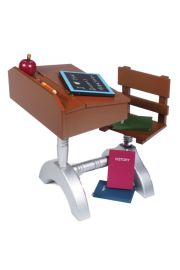 """High quality doll furniture 1930 style school desk and accessories for 18"""" dolls like American Girl¬ Madame Alexander¬. Includes desk accessories. Compatible with American Girl¬ Doll furniture."""
