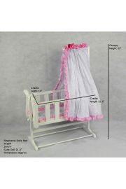 The Stephanie Wooden Doll Bed Rocking Cradle