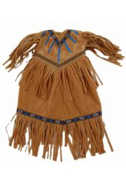Faux buckskin 18in doll dress