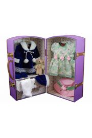 Canvas w/ Wood Doll Trunk For Bitty Baby Or Up To 15in Dolls Purple