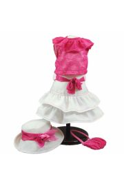 "Adorable doll clothes outfit featuring pink shirt and white skirt for 18"" doll clothes. High Quality Doll Clothes & Accessories for 18"" dolls Fits American Girl¬ Doll Clothes"