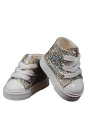 "Silver High Top Sneakers for 18"" doll clothes. High Quality Doll Clothes & Accessories for 18"" dolls."