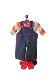 "Twin Rainbow Overall Outfit 15"" doll clothes.  High Quality Doll Clothes & Accessories for 15"" dolls,  baby Doll Clothes,"