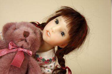 Leonellane - collectible one of a kind polymer clay art doll by doll artist Nadine Leepinlausky.