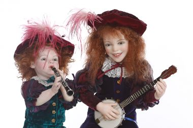 Minstrel Children - collectible one of a kind polymer clay art doll by doll artist Rebecca Major.