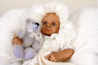 Ashleigh - collectible limited edition porcelain soft body art doll by doll artist Margaret Mousa.