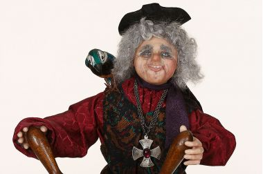 The Jolly Pirate - collectible one of a kind polymer clay art doll by doll artist June Brown.