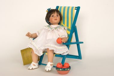 Collectible Limited Edition Porcelain soft body doll Orange Blossom by Ann Timmerman