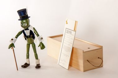 Main image of Talking Cricket from Pinocchio wood art doll by Marlene Xenis