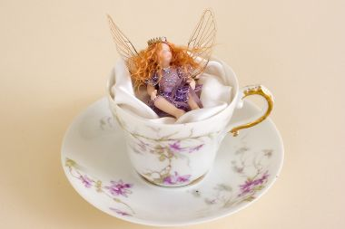 Demitasse Fairy no.3 - collectible one of a kind porcelain art doll by doll artist Susan Snodgrass.