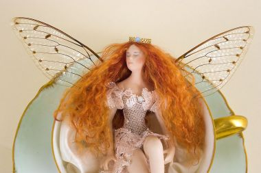 Tea Cup Fairy TC06 - collectible one of a kind porcelain art doll by doll artist Susan Snodgrass.