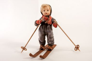 Detail image of Hummel Skier felt doll by R John Wright