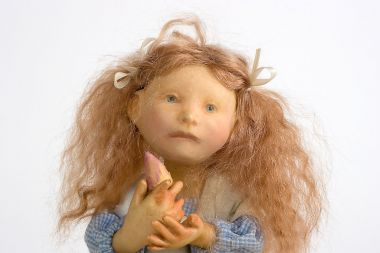 Girl on Box no.116 - collectible one of a kind resin art doll by doll artist Hal Payne.