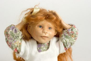Girl no.109 - collectible one of a kind resin art doll by doll artist Hal Payne.