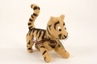 Pocket Tigger - collectible limited edition felt molded miniature doll by doll artist R John Wright.