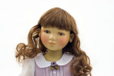 Viola - collectible limited edition felt molded art doll by doll artist Maggie Iacono.