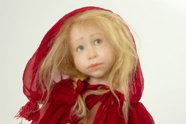 Red Riding Hood - collectible one of a kind polymer clay art doll by doll artist Odile Segui.
