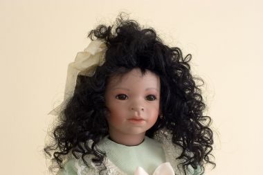 Serina Jade - collectible limited edition porcelain soft body art doll by doll artist Linda Steele.