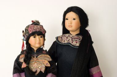 Collectible Limited Edition Porcelain soft body doll Sisters Zy Mei by Linda Mason