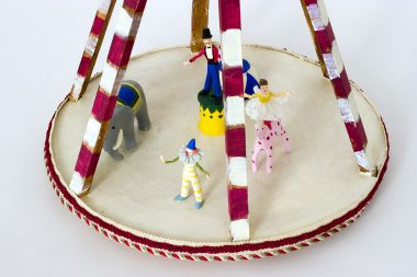 Circus - collectible one of a kind paperclay art doll by doll artist Nancy Wiley.